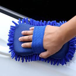 Microfiber chenille hand towel online shopping - 1 Car Wash Auto Hand Soft Towel Microfiber Chenille Anthozoan Washing Gloves Coral Fleece Sponge Car Washer