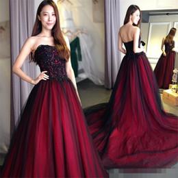 Wholesale Gothic wedding dresses Sweetheart Lace Up Back Floor Length Long Black Burgundy robe de soiree vestido longo de festa Bridal Gowns