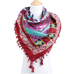 Pashmina square scarves online shopping - Ethnic Style Large Square Scarf Wrap Floral Cotton Geometry Pattern Printing Scarves Summer Beach Seaside Shawl Fashion qj bb
