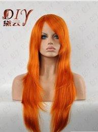 "orange curly hair 2019 - Free shipping+++ Women Lady Stylish Orange 24"" Long Wavy Cosplay Party Full Hair Wigs discount orange curly hair"
