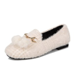 Chinese  Spring cozy short plush flats shoes women Korea cute white Sexy suede slip on shoes fashion casual loafers for woman manufacturers