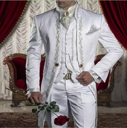 Custom tailCoat tuxedos online shopping - One Button White Embroidery Wedding Suits For Groomsmen Three Pieces Classic Fitted Tailcoat Groom The Best Men s Suits Jacket Pants Vest