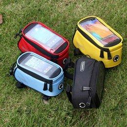 """bicycle phone holders waterproof 2019 - bike bag Roswheel Bicycle Bag Touchscreen Bike Front Frame Bags Holder Pannier Waterproof Cycle 4.2"""" 4.8"""" 5.5&"""