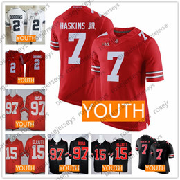 China Youth Ohio State Buckeyes #7 Haskins #2 Dobbins #97 Bosa #15 Elliott Red Lights Out Black White OSU Kids NCAA Jerseys S-XL suppliers