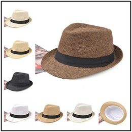 weave cap styles 2019 - New Man And Women English Formal Hats Sun Shading New Style Straw Hat Trend Weave Outdoor Stingy Brim Caps Multi Color 6