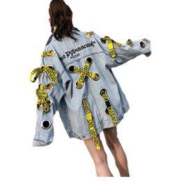 ribbon xl 2019 - Autumn Eyelet Holes Harajuku Denim Tops For Women Embroidery Ribbons Denim Jacket For Women Female loose Streetwear Basi