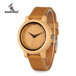 China BOBO BIRD WA10 Women Watches Bamboo Wooden Watch Real Leather Band Quartz Watch As Gift For Ladies Accept OEM Relogio Y1890304 supplier resin modern watches suppliers