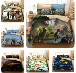 Duvet quilts online shopping - 6styles Dinosaur Printed Kids Bedding Set Duvet Cover Zoo Animal Quilt Cover Pillowcase Bedding Supplies FFA677
