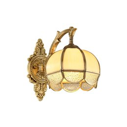 flower sconce light 2019 - Luxury European Copper Flower Living Room Wall Lamp Villa Royal Copper Bedroom Wall Sconces Glass TV Background Corridor