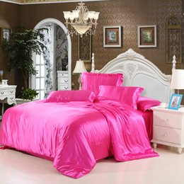Discount duvets covers - iDouillet Solid Color Silk Satin Bedding Set (Duvet Cover Bed Flat or Fitted Sheet Pillowcase) Twin Queen King Size Home