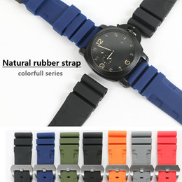 panerai watch buckle 2019 - 26mm 24mm Colorful Waterproof Rubber Silicone Watch Band Strap Pin Buckle Watchband Strap for Panerai Watch PAM Man PAM0