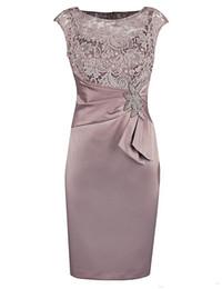 Chinese  2018 New Sexy Jewel Sheath Lace Appliques Peplum Sleeveless Satin Elegant Wedding Dresses Mother's Dresses Knee Length Custom Made manufacturers