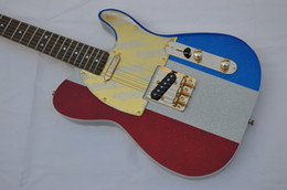 blue burst electric guitar 2019 - Wholesale - 2013 New style RED + Blue + yellow + silver burst tele electric guitar gold hardware