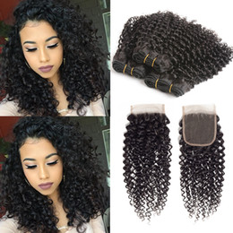 Discount medium length weaves - Kinky Curly Human Hair Bundles with Closure Brazilian Virgin Human Hair Bundles with 4*4 Lace Closure Kinky Curly Human