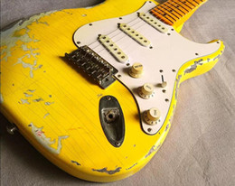 Mahogany paint online shopping - Custom Handwork Yellow Strat Heavy Relic ST Electric Guitar Vintage Chrome hardware Yellow Aged Neck Nitrolacquer Paint