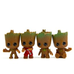 Discount girls cartoon characters - toy key chain Avengers 3 Guardians of The Galaxy Flowerpot Baby Groot Action Figures Cute Model Toy Pen Pot Best Christm