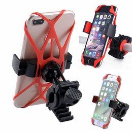 Discount bike band phone holder - Bike Bicycle Motorcycle Phone Holder Handlebar Mount Holder With Silicone Car Support Band Universal 3 Colors NNA703