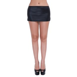 Discount sexy strippers costumes - brand skirt iEFiEL Brand Black Sexy Women's PVC Wet Look Faux Latex Micro Mini Skirt with G-String Party Club Strip