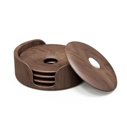 Chinese  Walnut Dark Wood Round Coasters with Holder Included, 5-Piece Coaster Set for Table - Home   Office Decor-Perfect Holiday Gift! manufacturers