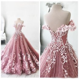 Discount plus size prom dresses masquerade - 2018 Off Shoulder Lace Appliques A-Line Prom Dresses Masquerade Quinceanera Dresses Backless Floor Length Sweet 16 Pagea