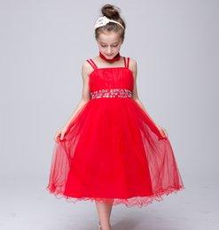 Discount line wedding dresses straps bling - Formal Spaghetti Strap Flower Girl Dresses Bling Mesh Princess Ball Grown Sweet Sleeveless Tiered Mesh Girls Dresses