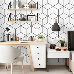 Discount white abstract wallpaper - Modern Design Cube 3d Wallpaper for Living Room Waterproof Nordic Abstract Pattern White Wall Paper Roll