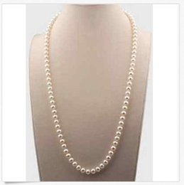 China 14k gold classic 35 inch 7-8 mm south sea white pearl necklace supplier 35 inch south sea pearls suppliers