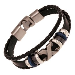 China European and American casual vintage cowhide hand-woven bracelet X shape leather bracelet hand-woven fashion jewelry wholesale supplier x shaped jewelry suppliers