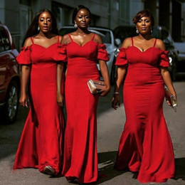 Chiffon gowns for plus size online shopping - 2019 Red Plus Size Bridesmaid Dresses South African Spaghetti Mermaid Maid Of Honor Gowns For Wedding Floor Length Cheap Bridesmaid Dress