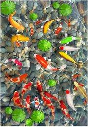 wall mural wallpaper lotus 2019 - Customized 3D photo mural wallpaper pvc self-adhesive waterproof flooring wall sticker Fish music lotus pebbles 3D bathr
