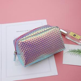 Making pencil case online shopping - Women Laser Cosmetic Bag Mermaid Holographic Make Up Box Student Pencil Case Toiletry Wash Boxes PU Clutch LJJP138