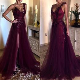Formal evening dress lavender scoop line online shopping - Plus Size Straps Scoop Neckline Lace Tulle Prom Dresses Applique Sequins A Line Side Split Formal Evening Gowns Vintage Fashion Women Wear