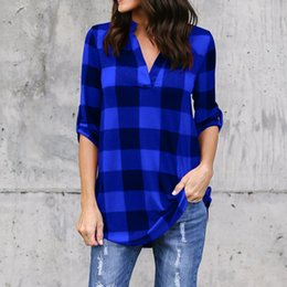 Wholesale Women s Shirt New Arrival Plaid Print V neck Tops Womens Clothes Women Long sleeved Print Sleeves Loose Ladies Shirts Plus Size S XL