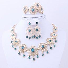 Women silver ring bracelet set online shopping - 5pcs set Bracelet Ring Statement Necklaces Stud Earrings Set Chandelier Women Dangle Choker Wedding Jewelry Sets Wedding Decoration