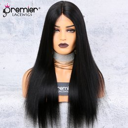 Discount dark black hair - Silk Base Lace Front Wigs Middle Part Yaki Straight 150% Density 100 Brazilian Remy Hair Wigs