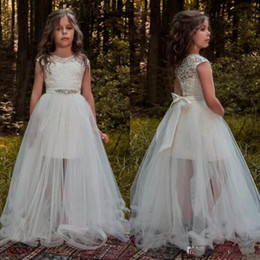 Children gold dress sashes online shopping - 2019 Lovely Flower Girl Dresses For Weddings With Detachable Train Jewel Cap Sleeve Lace Sash See Through Child Birthday Party Gowns