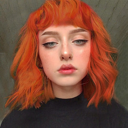 orange curly hair 2019 - fashion women's orange medium curly hairpieces synthetic wigs natural wave hair wigs cheap orange curly hair