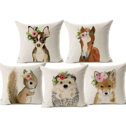 ChoColate bedroom online shopping - Baby Fox Deer Squirrel Bunny With Flower Animal Painting Cat Flamingo Beige Pillow Case X45cm Bedroom Sofa Chair Decor