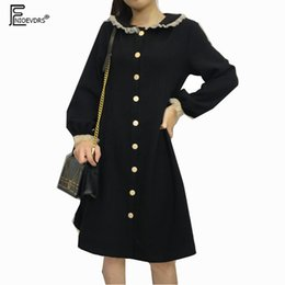 cute vintage collar sleeve dress 2019 - Retro Design Dresses Hot Sales Women Fashion Long Sleeve Japanese Cute Style Peter Pan Collar Button Shirt Dress Vintage