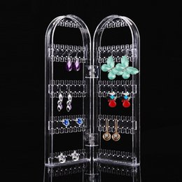Displaying proDucts online shopping - Product Jewelry Display Organizer Transparent Earring Holder Earring Display Two Doors Showing Shelf Beauty Health Tool