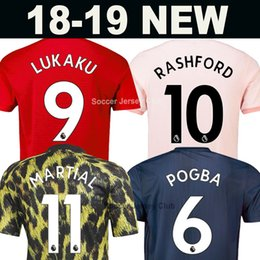 Red shoRts boys online shopping - 18 LUKAKU ALEXIS MAN Top Thailand quality UTD EA Sports soccer jersey POGBA MARTIAL LINGARD RASHFORD women Kids boy United football shirt