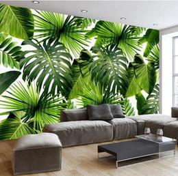 backgrounds photo 3d 2019 - 3D Mural Wallpaper Southeast Asia Tropical Rainforest Banana Leaf Photo Background Custom Wall Murals Silk Wallpaper Mod