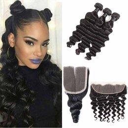medium length weaves 2019 - Brazilian Loose Deep Virgin Hair Bundles Human Hair Weaves With 4x4 Closure Or 13X4 Lace Frontal Closure Peruvian Hair E