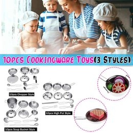 Bucket set toy online shopping - Kitchen Set Toys Stainless Steel Children Simulation Play Utensils House Chopper High Pot Soup Bucket Safe Reliable Cook