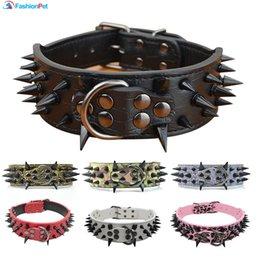 "Discount extra large dog collar mastiff - High Quality 2 ""Width Pu Leather Big Dog Collar with Black Sharp Spikes Studded for Large Dog Pet Pitbull Mastiff"