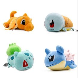 squirtle plush toys 2019 - Q version lying plush toys Charizard Squirtle Dragonite Bulbasaur Lapras dolls lovely gift for children soft sofa pillow