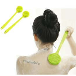Massage shower brush online shopping - Long Handle Silicone Bath Brush Eco friendly Exfoliator Massage Brush Cleaning Shower Scrubber For Body Back Bath Supplies