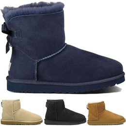 Summer tall bootS online shopping - WGG Bowknot snow Half Boots Crystal buckle Button winter Australia Classic fashion Bow tall shoes real leather Bailey women bow Ankle Boots
