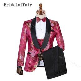 ClassiC wedding men dresses online shopping - Bridalaffair Men Business Casual Slim Suit Sets Fashion printed Tuxedo Wedding formal dress Blazer stage per