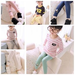Wholesale Kid Toddlers Warm Leggings Cartoon Solid Color Soft Tights Baby Children Girl Embroidered Bird Stretchy Pants Trousers